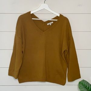 madewell double v pull over in antique gold Sz S